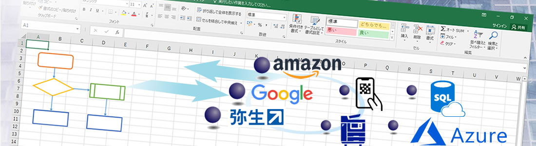 Excelでシステム開発を行います、様々なシステムや機器と連携した仕組みも可能です。